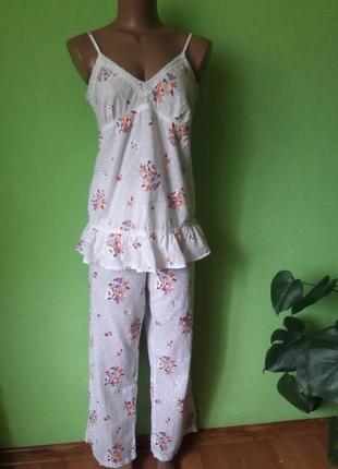 Батистовая пижама топ+ шорты+ штаны