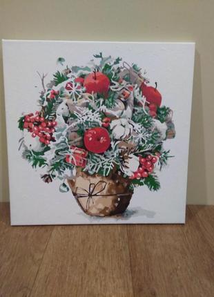 Картина новогоднее лукошко
