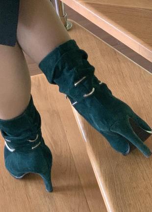 Елегантні замшеві боти на високому каблуку, натуральна шкіра, замш