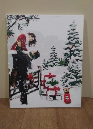 Картина влюбленная парочка зимой