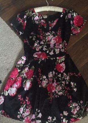 Платье под шелк принт цветы