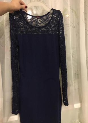 Темно- синее платье с ажуром