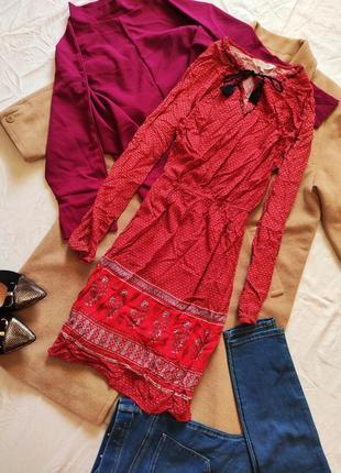 Платье вышиванка красное свободное оверсайз с длинным рукавом