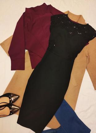 Платье миди чёрное футляр карандаш сеточка на спине и боках пайетки асос asos