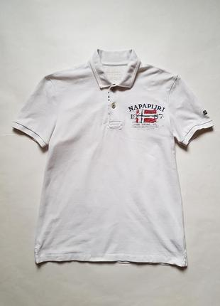 Крутая мужская футболка поло napapijri,белая футболка,поло,тенниска,хлопковая футболка
