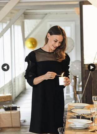 Kiabi платье чёрное прямое классическое костюмка с сеточкой рукава 3/4 новое
