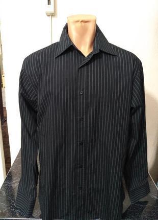 Мужская черная рубашка в полоску