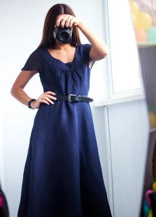 Удлиненное синее платье из льна размер м