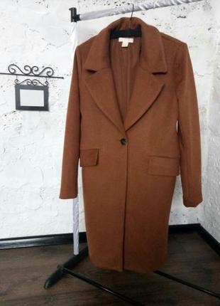 Трендовое шерстяное пальто бойфренд h&m