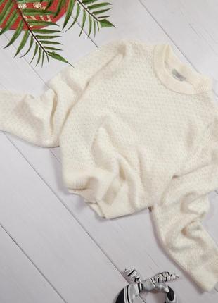 Теплый шерстяной ажурный свитер шерсть мохер обьемные рукава
