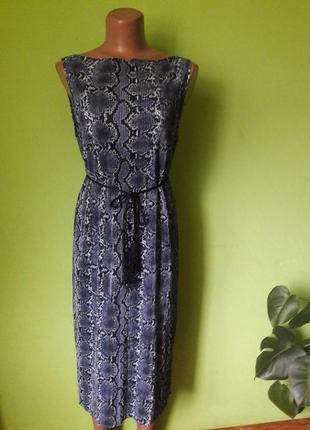 Гофрированное платье с змеиным принтом