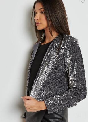 Брендовый серебристый пиджак накидка dorothy perkins молдова паетки этикетка