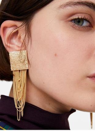 Стильные серьги серёжки с цепочками цвет золото