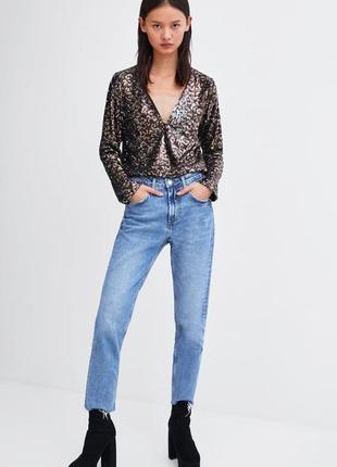 Блуза паетки леопард zara