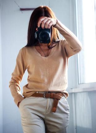 Теплый свитер горчичного цвета размер л