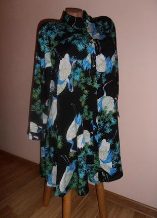 Красивое платье-рубашка, туника с журавлями, menglu