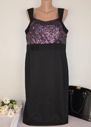 Брендовое черное нарядное вечернее макси платье savoir паетки