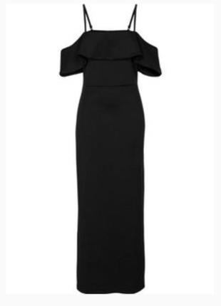 Платье черное макси на брителях
