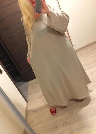 Свободное платье цвета camel