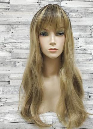 Парик прямой блонд с затемненными корнями 7801