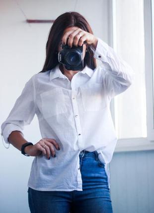Белая рубашка блуза на пуговицах размер м