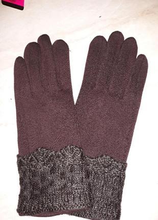 Женские перчатки трикотаж на флисе