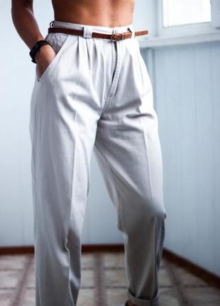 Серые брюки с завышенной талией размер с