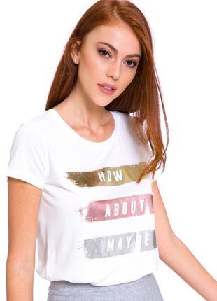 Белая женская футболка lc waikiki / лс вайкики с серебристыми и золотистыми полосками