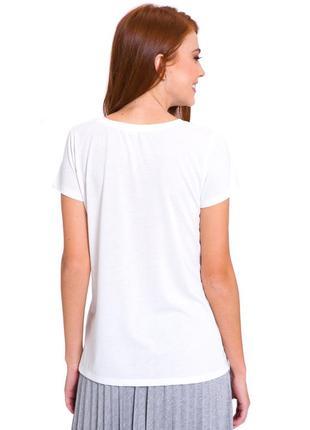 Белая женская футболка lc waikiki / лс вайкики с серебристыми и золотистыми полосками2 фото