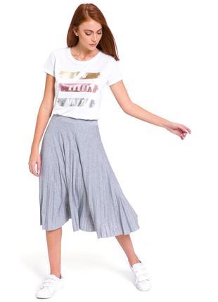 Белая женская футболка lc waikiki / лс вайкики с серебристыми и золотистыми полосками3 фото