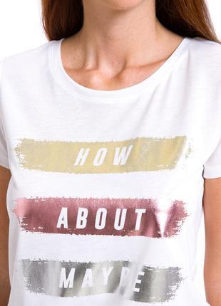 Белая женская футболка lc waikiki / лс вайкики с серебристыми и золотистыми полосками4 фото