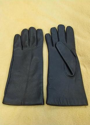Красивенные удлиненные кожаные перчатки темно синего цвета
