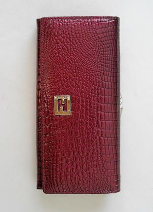 Большой кожаный лаковый кошелек пурпур, 100% натуральная кожа, есть доставка бесплатн