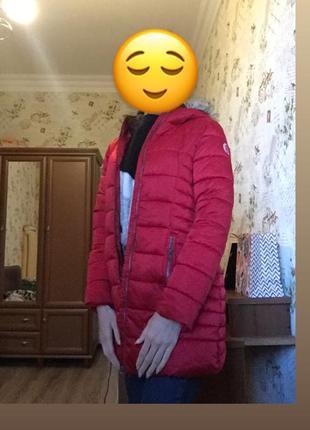 Зимняя красная курточка h&m, next, пуховик, дутик, зефирка