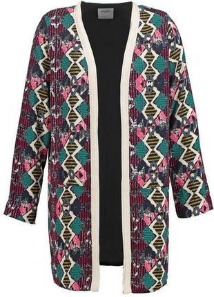 Пиджак  кардиган удлиненный блейзер кимоно этно бохо принт свободного кроя
