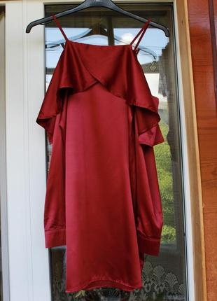 Шелковое, платье, плаття, сукня, марсала, красное, шовкове, атласне