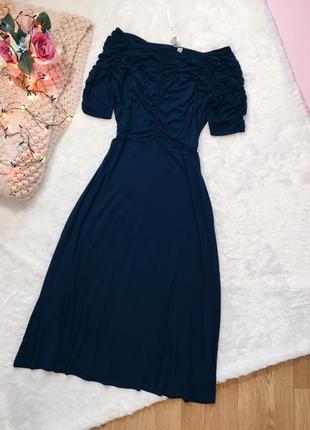 Темно-синее вечернее пышное миди платье солнце вискоза