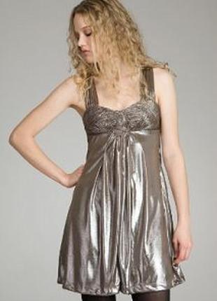Брендовое нарядное вечернее миди платье miss sixty индия переливается