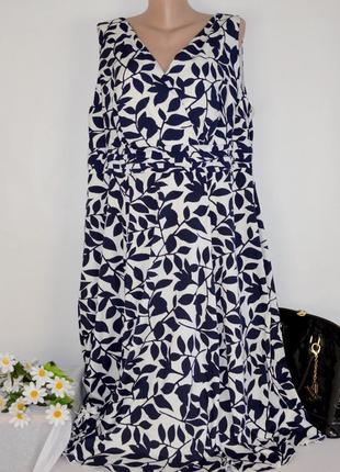 Брендовое нарядное макси платье soon индия принт листья большой размер этикетка
