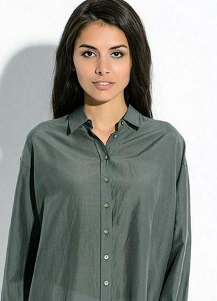 Брендовая шелковая рубашка блуза оверсайз