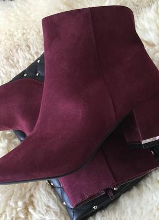 Крутые и неповторимые ботиночки марсала на маленьком каблучке, р.39/25см...🌹
