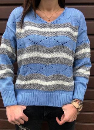 Ажурный вязаный зимний свитер пастельного голубого цвета новый