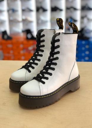 Ботинки в стиле dr martens, натуральная кожа, внутри шерсь