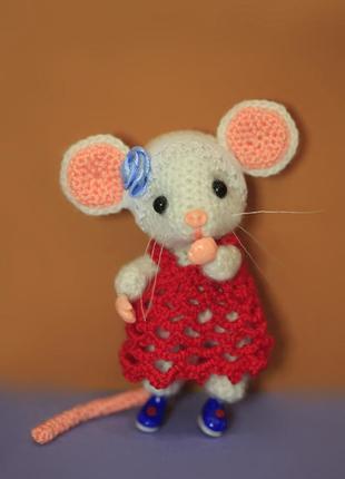 Брелок для сумки мышка в карсном платье