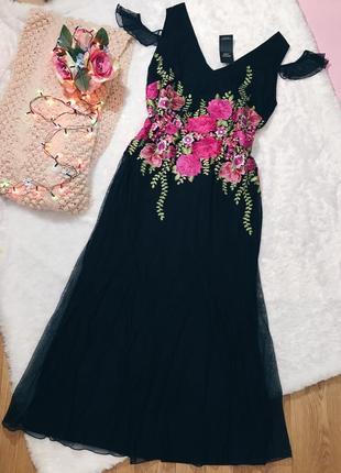 Черное(розовое) вечернее длинное пышное платье с вышивкой цветы