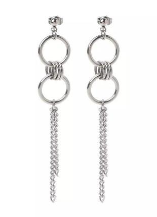 Базовые серьги-гвоздики с кольцами и цепями в стиле минимализм