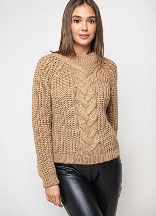 Теплый свитер крупной вязки с люрексом в множестве различных расцветок