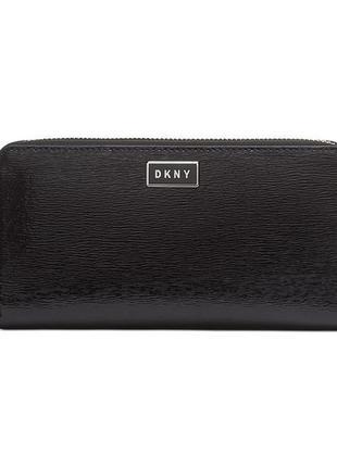 Классный черный кожаный кошелек dkny (donna karan new york)