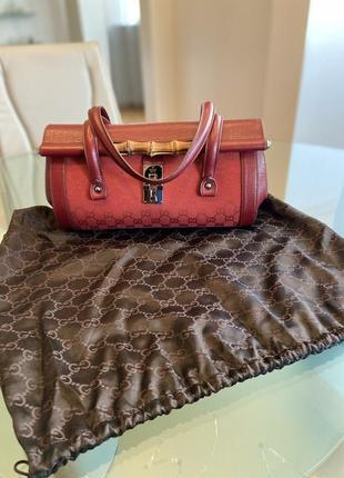 Сумка gucci gg canvas leather bamboo bullet bag оригинал