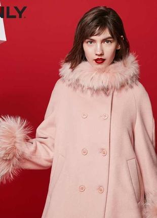 Пудровое шерстяное пальто only со съемным мехом (бирка!)